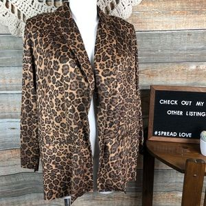 Ruby Rd. Woman 1X Animal Print Open Front Cardigan